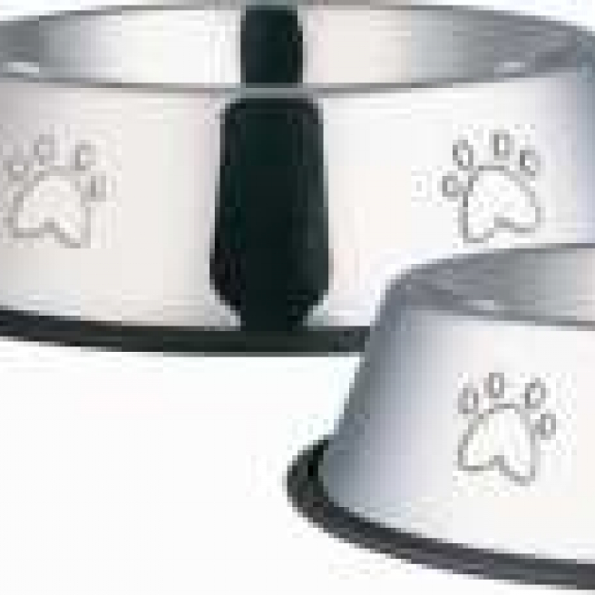 Stainless Steel Non Tip Bowl With Paws Embossed